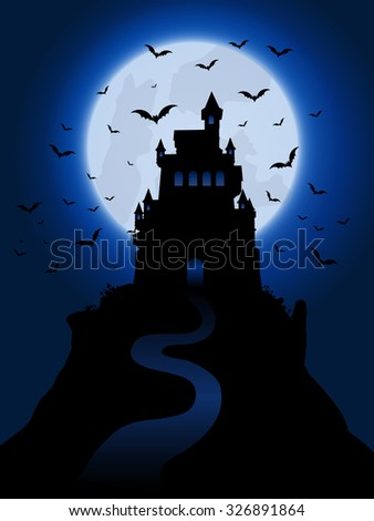 Halloween background with spooky haunted house - stock vector