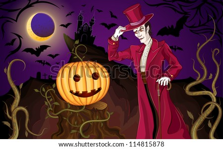 Halloween background with the vampire and a pumpkin