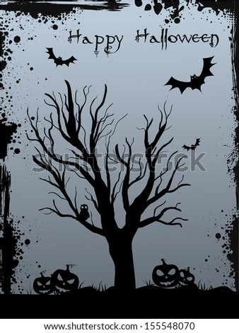 Halloween background with tree silhouette, jack o'lantern pumpkins and bats