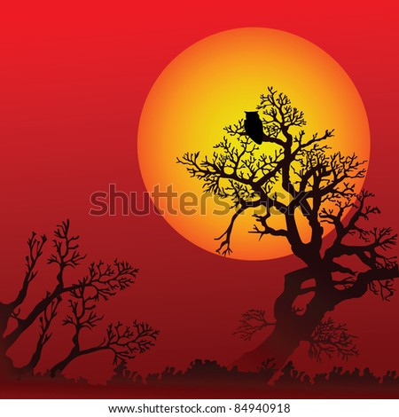 Halloween background with trees, owl and moon (eps8) - stock vector