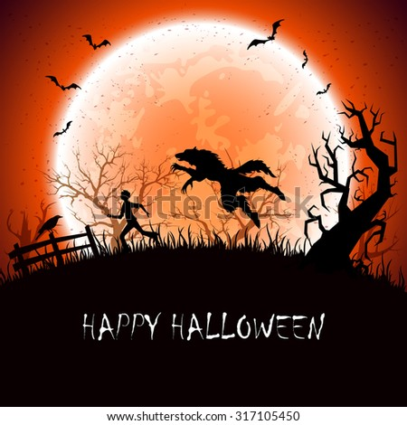 Halloween background with werewolf and running man, illustration. - stock vector
