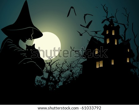 Halloween background with wich and hounted house - stock vector