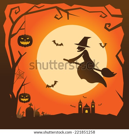 Halloween Background with Witch - stock vector