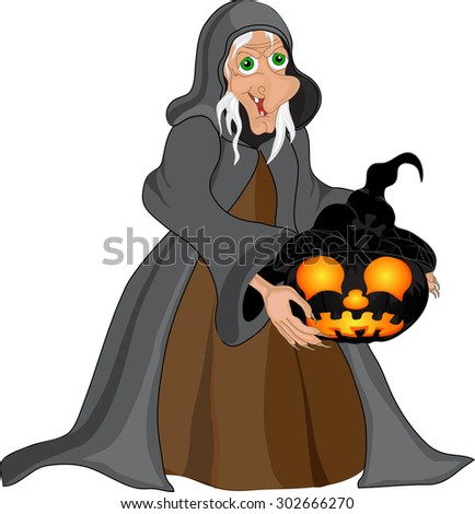Halloween background with  witch and pumpkins. Halloween banner .Vector illustration