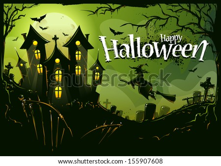 Halloween background with witch flying to castle. Cemetery landscape, scary trees, bats and road house. Halloween poster. Vector illustration.  - stock vector