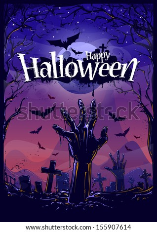 Halloween background with zombie hand and cemetery view. Vector illustration. - stock vector