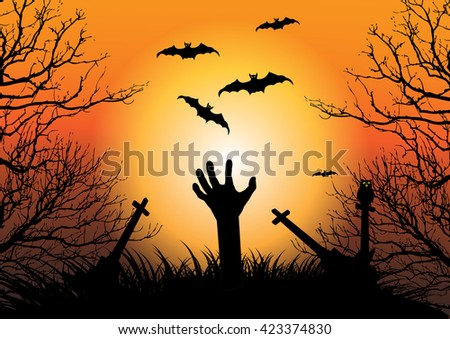 Halloween background with zombie hand raising on cemetery and full moon - stock vector
