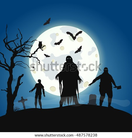 Halloween background with zombie on the full moon