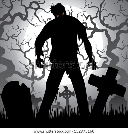 Halloween background with zombie, tree, tombstones and the moon on the cemetery - stock vector