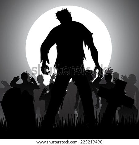 Halloween background with zombies, tombstones and the moon on the cemetery - stock vector