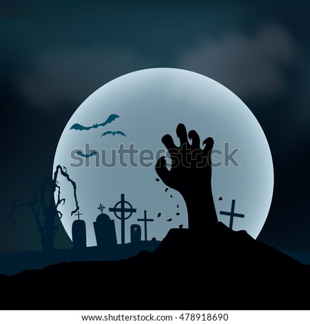Halloween Background. Zombie hand rising out from the ground, vector illustration