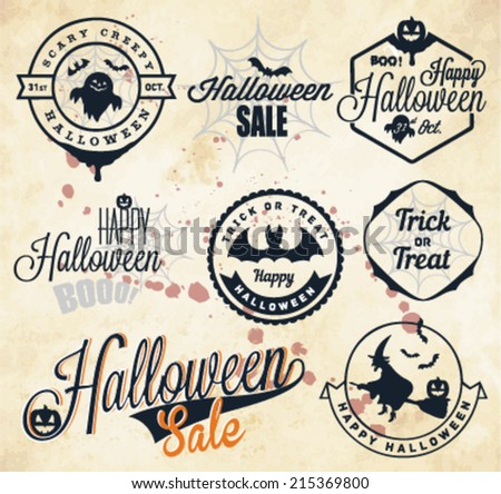 Halloween Badges and Labels in Vintage style - stock vector