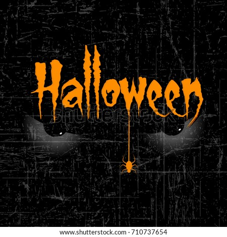 halloween banner calligraphy with scary halloween eye and spider and handmade vector lettering 3d orange text