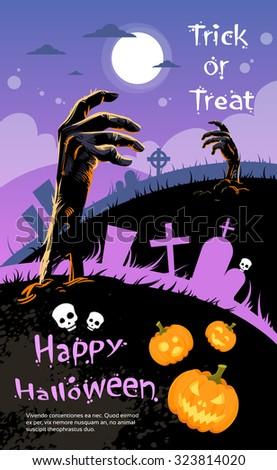 Halloween Banner Cemetery Graveyard Hand From Ground Party Invitation Card Flat Vector Illustration - stock vector