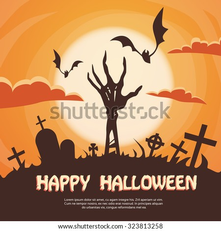Halloween Banner Cemetery Graveyard Skeleton Hand From Ground Party Invitation Card Flat Vector Illustration - stock vector