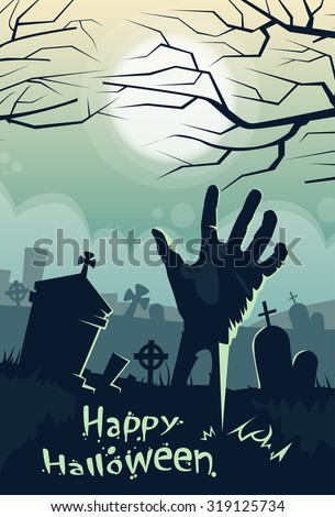 Halloween Banner Retro Cemetery Graveyard Hand From Ground Party Invitation Card Flat Vector Illustration - stock vector