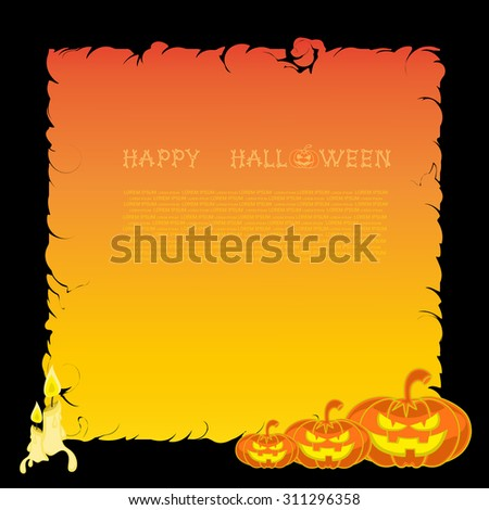 Halloween banner with pumpkins and candles on orange gradient background