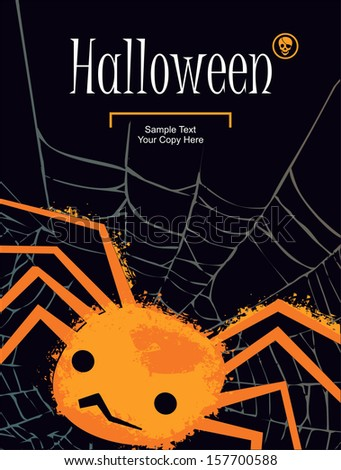 Halloween banner with spider vector - stock vector