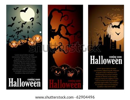 Halloween banners set - stock vector