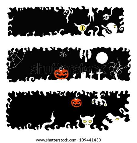 Halloween Banners.  Set of three pieces - stock vector