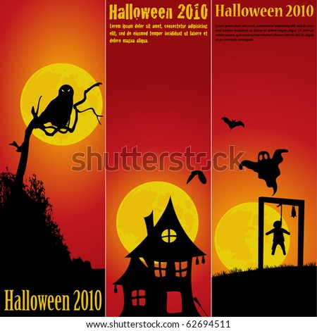 Halloween banners set vector - stock vector