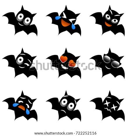 halloween bat emotions vampire bat vector cartoon character set - Halloween Bat Pics