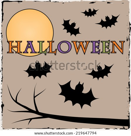 Halloween bats with moon on brown grunge background - stock vector