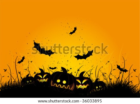 Halloween black and orange background with grass and bat - stock vector