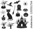 Halloween black and white icons set. vector illustration - stock