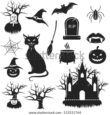 Halloween black and white icons set. vector illustration - stock vector