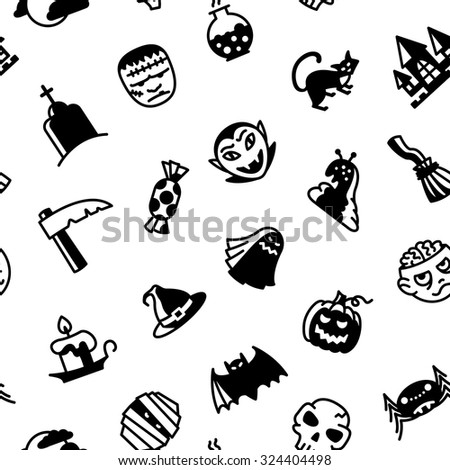 Halloween black and white seamless pattern - stock vector