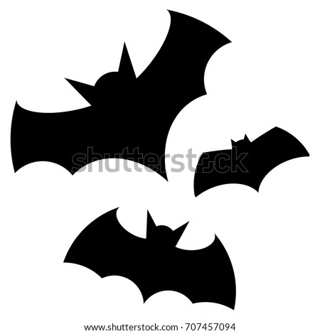 Halloween Black Bat Icon Set Bats Stock Vector 707457094 ...