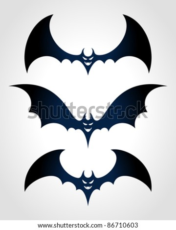 Halloween black bat scary face Vector icon set eps 10. - stock vector