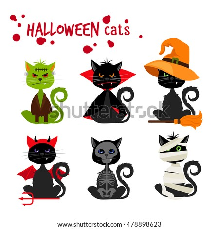 Halloween black cat fashion costume outfits. Dead cat skeleton and mummy pussy cat  zombie  sc 1 st  Shutterstock & Halloween Black Cat Fashion Costume Outfits Stock Vector 478898623 ...