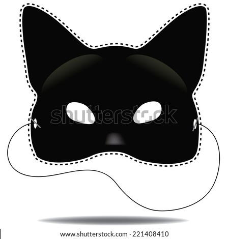 Halloween Black cat mask collection EPS 10 vector - stock vector