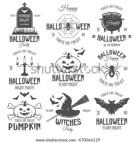 Halloween Black White Emblems Parties Celebrations Stock Vector