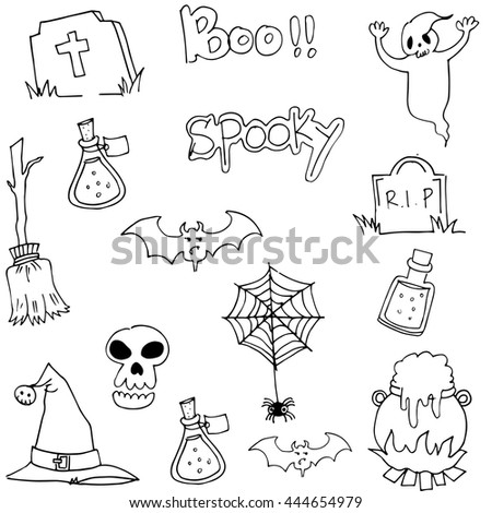 halloween black white in doodle vector with hand draw - Halloween Pictures To Draw