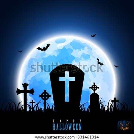 Halloween Blue Moon Cross Tombstone Graveyard Pumpkin Graphic Design Vector Illustration EPS10 - stock vector
