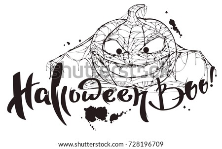 Halloween boo text pumpkin spider web stock vector 728196709 halloween boo text pumpkin spider web silhouette makes boo isolated on white vector illustration pronofoot35fo Gallery