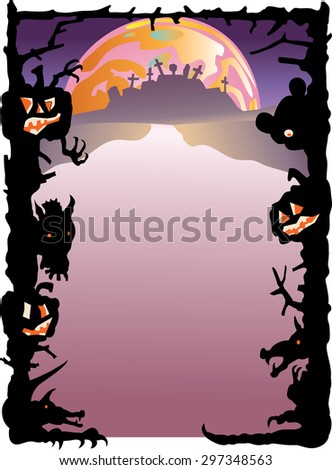 Halloween border of shadows, wolf heads, and carved pumpkins surrounding a space for text. A graveyard on a hill and a large moon are in the background.