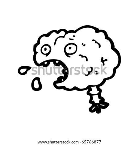 halloween brain cartoon - stock vector