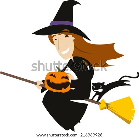 Halloween Broom Flying Witch Hat with Pumpkin and Black Cat