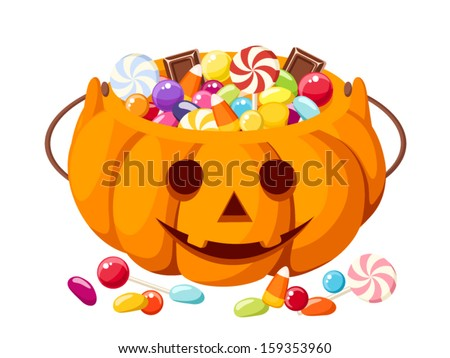 Halloween candies in Jack-O-Lantern bag. Vector illustration. - stock vector