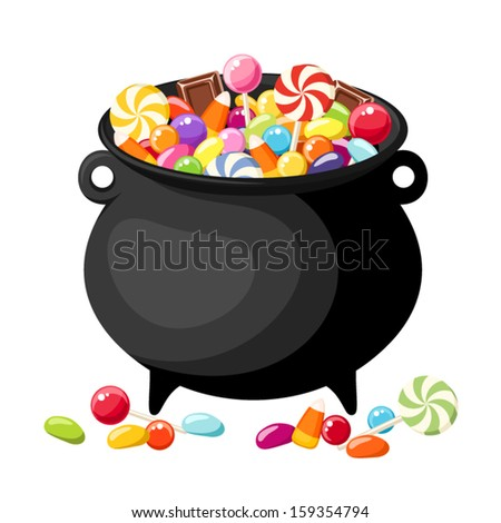 Halloween candies in witches cauldron. Vector illustration. - stock vector