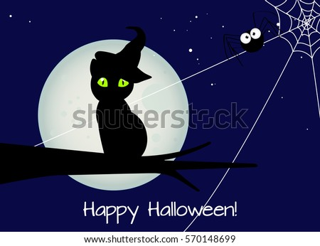 Halloween Card Black Cat With Witch Hat A Big Spider Against Full Moon