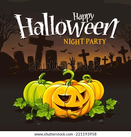 Halloween card design template. Cartoon pumpkins on cemetery background. Halloween grunge typography. Vector illustration. - stock vector