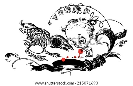 Halloween card design with Bird Skeleton and Dead Doll. VECTOR.  - stock vector