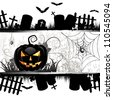 Halloween card design with pumpkin and ghost house - stock photo