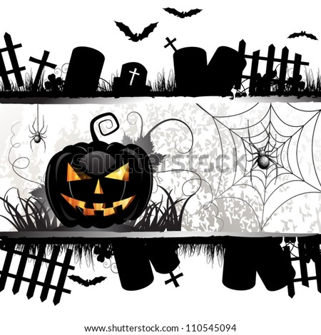 Halloween card design with pumpkin and ghost house - stock vector
