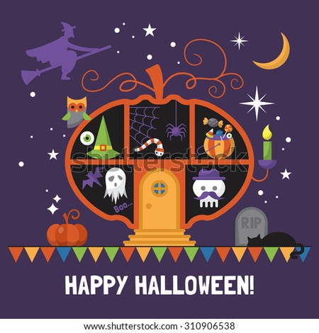 Halloween card design with pumpkin house. Vector illustration - stock vector